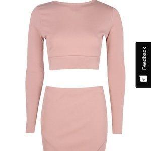 Boohoo Lydia Blush Bandage Crop & Mini Skirt Set